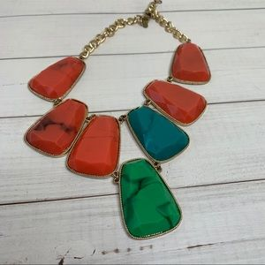 orange and green gem boho necklace | Anthropologie